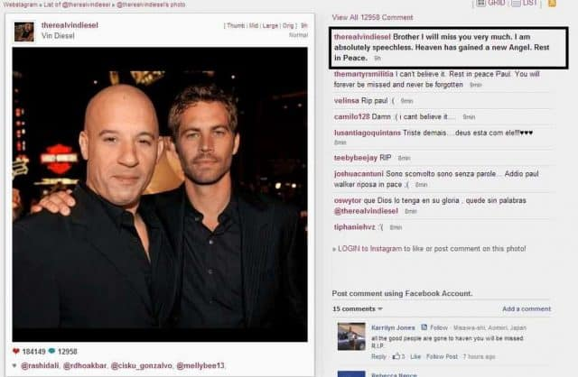 vin diesel instagram paul walker