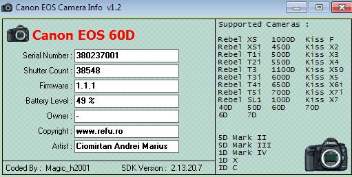 EOSinfo, Shutter Count sau numarul cadrelor la DSLR