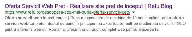 optimizare seo onpage - Google Snipped