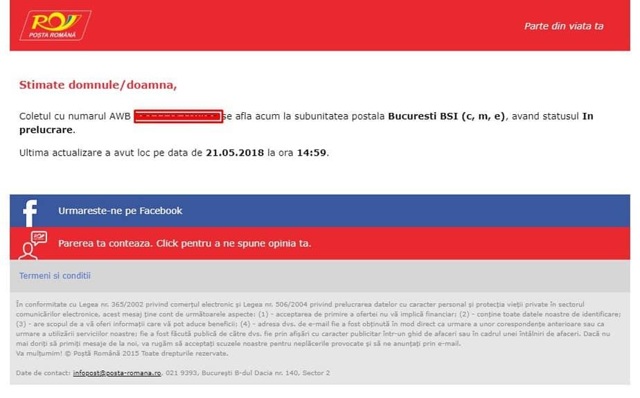Posta Romana Tracking Email (AWB ) - Urmarire colet pentru BSI Bucuresti in 2019 - Refu.ro
