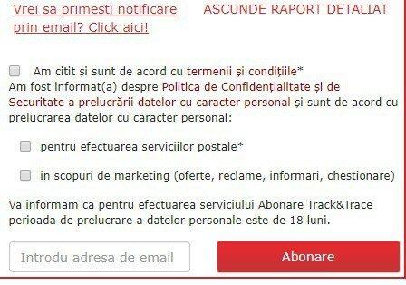 AWB Posta Romana Tracking Email - Urmarire colet pentru BSI Bucuresti 1