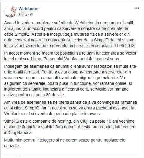 WebFactor - Hosting cazut de pe 7 mai 2018 | Preluat de SimpliQ - Refu.ro